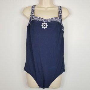 Vintage Christina One Piece Swimsuit 18w Nautical